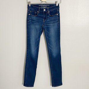 American Eagle Dark Wash Mid-Rise Skinny Jeans